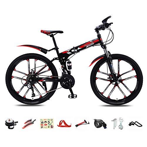 YRYBZ MTB Bici para Adulto, 26 Pulgadas Bicicleta de Montaña Plegable, 30 Velocidades Velocidad Variable Bicicleta Juvenil, Doble Freno Disco/Rojo/A Wheel