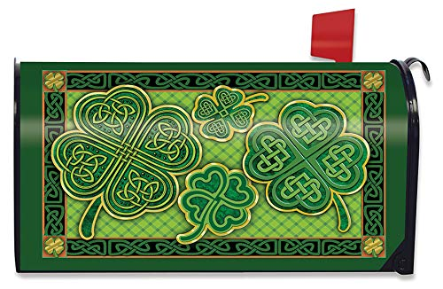 Briarwood Lane Celtic Shamrocks St. Patrick's Day Magnetic Mailbox Cover Irish Clovers Standard