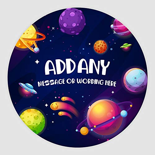 Space Galaxy Planets 7.5 Inch (19cm) Personalised Edible Cake Topper on Premium Icing