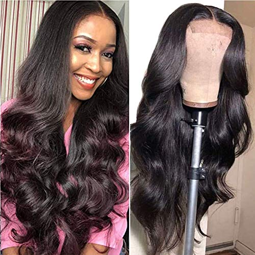Body Wave Lace Front Wigs Human Hair, Brazilian Virgin Human Hair 4x4 Lace Closure Wigs, 150% Density Human Hair Wigs with Baby Hair Natural Hairline Wigs for Black Women (22 inch)