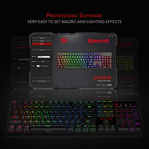 Redragon K582-BA Wired Mechanical Gaming Keyboard & M711 Cobra Gaming Mouse Combo, 10,000DPI, 7 Programmable Buttons, RGB LED Backlit Keyboard Mouse Set for PC, Laptop, Computer