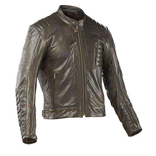 MTech Racer - Chaqueta de piel para moto (XL, marrón)
