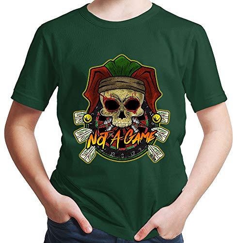 HARIZ Jungen T-Shirt Not A Game Totenkopf Hut Dart Sprüche Männer Weltmeisterschaft Plus Geschenkkarten Dunkel Grün 140/9-11 Jahre