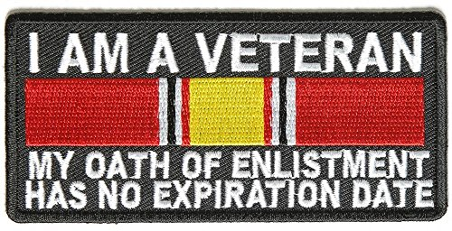 I AM A VETERAN OATH OF ENLISTMENT RIBBON Embroidered Military Patch Vest Jacket Emblem