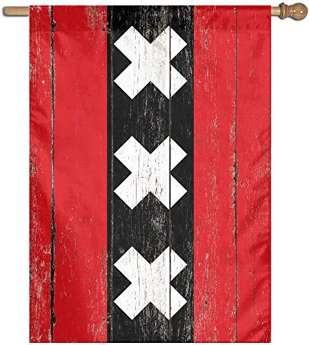 BI HomeDecor House Yard Flag,Bandiere di Famiglia Stampate su Un Lato della Bandiera di Paese Olandese della Città di Amsterdam per La Decorazione Domestica di Festa