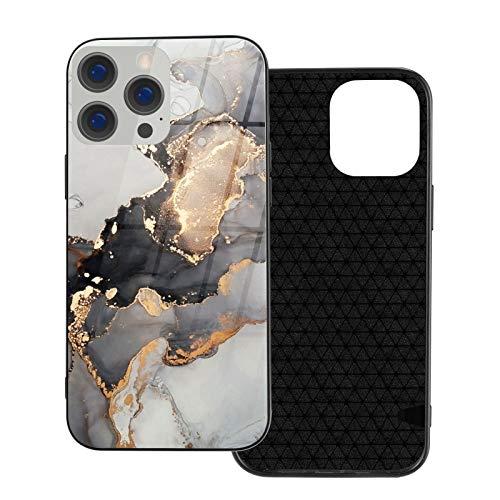 Hecho de goma + vidrio moldeado a alta temperatura, funda diseñada para iPhone 12, funda diseñada para iPhone 12 Pro, 6,1 pulgadas, mármol oro blanco