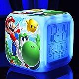 yitao - Reloj despertador digital para niños, LED, diseño animado con luz nocturna, flash 7 cambios de color, reloj digital de escritorio electrónico