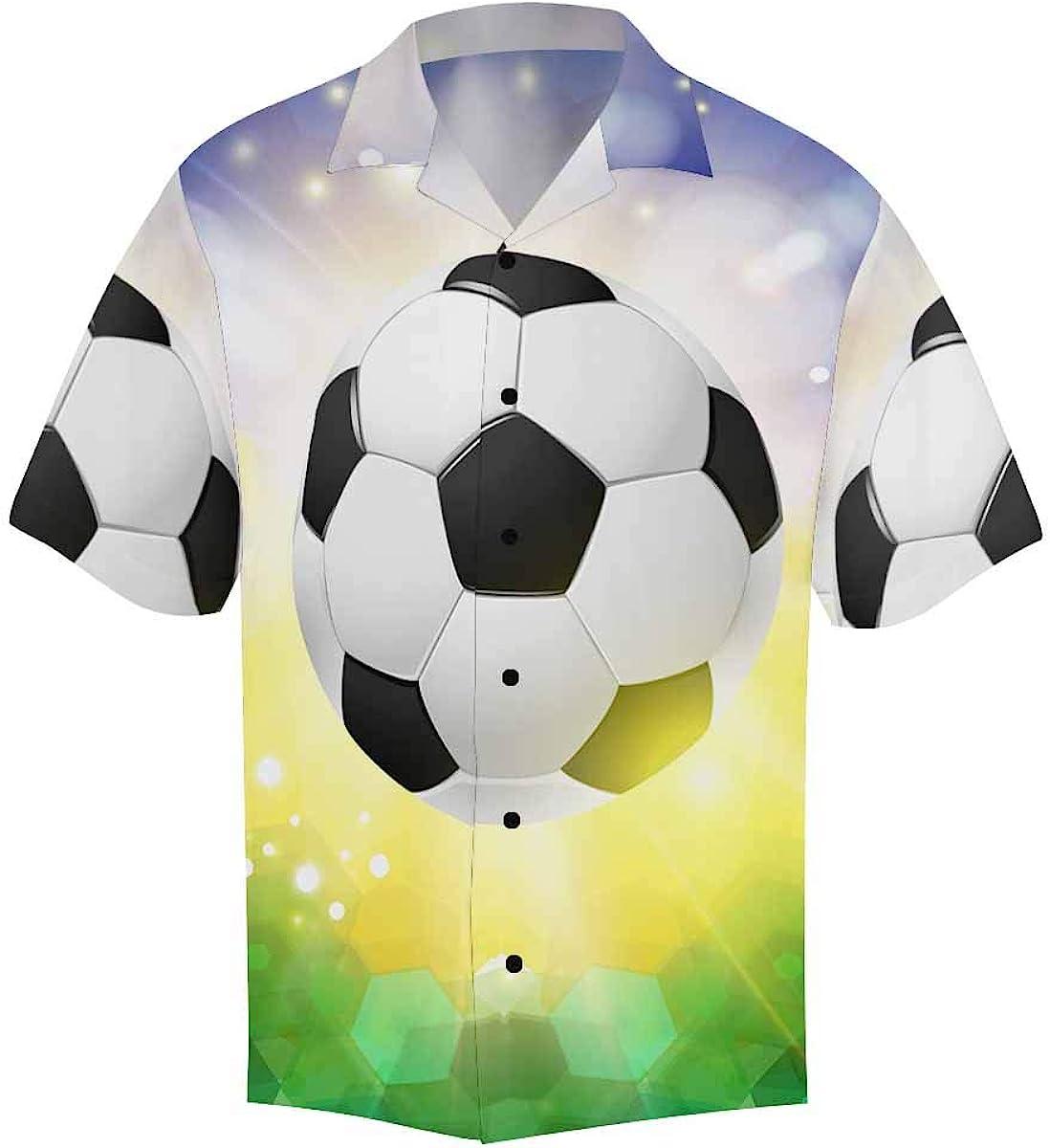 InterestPrint Men's Casual Button Down Short Sleeve Global World Football Hawaiian Shirt (S-5XL)