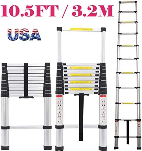 new arrival Heavy outlet online sale Duty Telescoping Ladder 10.5Ft Aluminum online Portable Lightweight 11 Steps with Non Slip Feet DIY Building Tools outlet sale