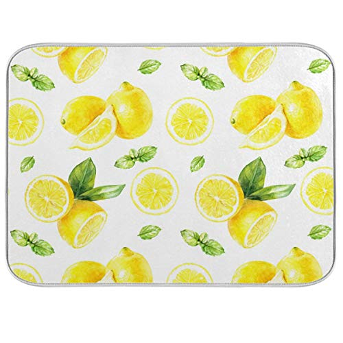 Watercolor Lemon Pattern Dish Drying Mat for Kitchen Countertops Sinks Drying Mat Absorbent Heat Resistant Dishes Drainer Pad 18 x 24 Inch