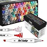 100 Colori Pennarelli Set, Marker Pen Pennarello Doppia Punta, per disegnare, colorare, graffiti, schizzo, pittura su roccia, vetro, ceramica, legno per studenti, adulti, artisti MH-100W