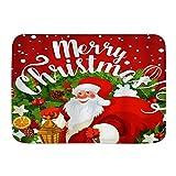 Minalo Alfombra Decorativa para el Baño,Feliz Muñeco De Nieve Feliz Navidad Palabras Regalo Cinta De...