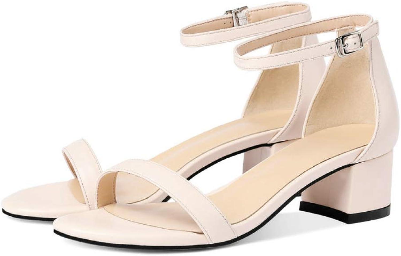 T-JULY Cow Leather PU Women Sandals Square Med Heel Ladies Gladiator Elegant Dress Summer shoes shoes Black Size