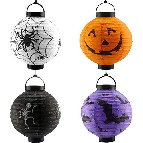 TOYANDONA 4 piezas linternas de papel de halloween creativos delicados accesorios ecológicos decoraciones de fiesta juguetes de regalo para niños colgando linterna redonda tamaño 1