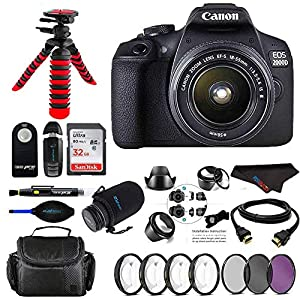 Canon EOS 2000D / Rebel T7 Digital SLR Camera w/ 18-55MM DC III Zoom Lens (Black) + Pixi Pro Bundle