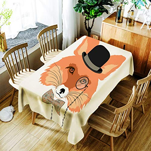 Uhgkt tablecloth Cartoon Animal Fox Decorative Tablecloth Waterproof Thicken Rectangular Home Dining Table Cover Tea Table Cloth