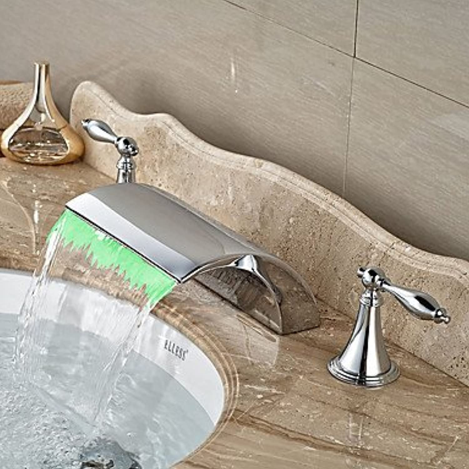 SUNNY KEY-Bathroom Sink Taps@?ìContemporary   Art Deco Retro   Modern Widespread LED   Waterfall   Widespread with Ceramic Valve Two Handles Three Holes