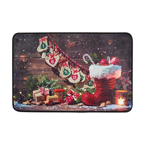 Kcldeci Fußmatte mit Weihnachtsmann-Motiv, Fußmatte für den Eingangsbereich, Frohe Weihnachten, für den Innenbereich, Fußmatte, Fußabtreter, rutschfest, 40 x 60 cm
