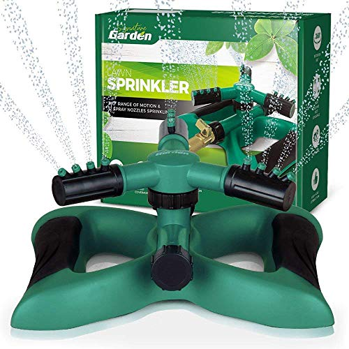 Signature Garden Three-Arm Sprinkler, 12 Built-in Spray Nozzles, 360 Degree Rotation & 3600 Sq Ft Coverage