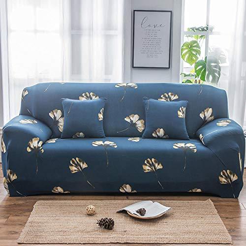 Funda de Sofá 2 Plazas,Jacquard Poliéster Funda Sofa Elasticas Suaves Resistentes Sofa Antideslizante, Cubierta para Sofa Protector-Trébol Azul de Cuatro Hojas