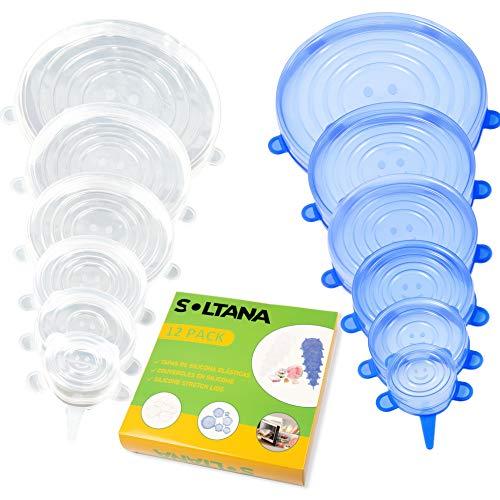 SOLTANA Tapas de Silicona elásticas, Tapas Silicona Ajustables Cocina, Tapas Silicona Reutilizable, 12 Unidades de Varios Tamaños, Tapas Silicona para Alimentos