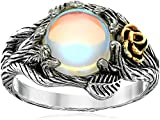 JESMING Rose Moonstone Ring Moon Ring 925 Cute Sterling Silver Rings Leaf Ring Wiccan Jewelry Rose Flower Ring Witchy Jewelry Healing Crystals Ring Antique Rings Moon Stones Ring for Women (Size:8)