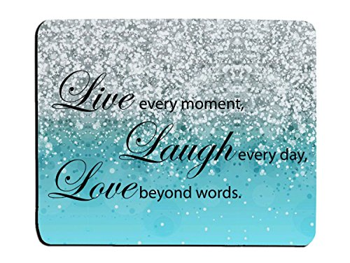 Glitter Mouse Pad Blue Sparkle Quote Live Love Laugh Customized Rectangle Non-Slip Rubber Mouse pads Gaming Mouse Pad