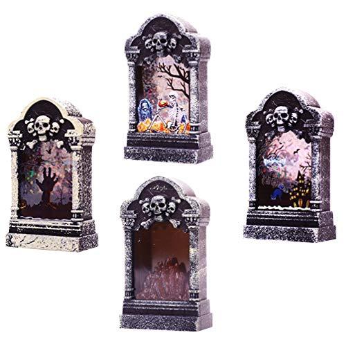 Uonlytech 4Pcs Halloween Wasserlaterne Grabstein Grabstein Wirbelnden Glitzer Schneekugel Lampe Nachtlicht Halloween Desktop Tisch Requisite Dekoration für Halloween Partyzubehör