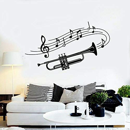 XCSJX Aplique de Pared de Vinilo Trompeta Instrumento Musical música Pegatina Trompeta Grande Hoja de música Pegatina Mural Papel Tapiz 57x100 cm