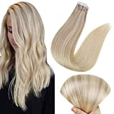 Full Shine Tape Hair Double Sided Tape Silky Straight Seamless Glue on Color 18 Ash Blonde Fading to 22 Blonde And 60 12 Inch Brazilian Hair 30g Short Hair