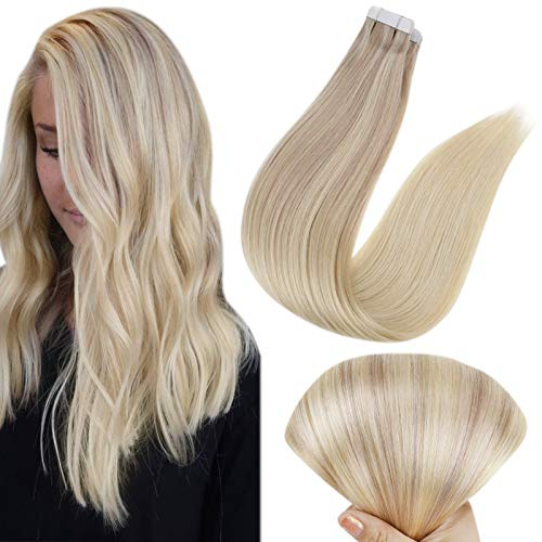 Full Shine Tape In Extensions 24 Inch Straight Human Hair Nordic Color 18 Ash Blonde Fading To 22 And 60 Blonde Tape Hair Extensions 20 Pcs Hair Extension Glue 50 Grams Silky Straight
