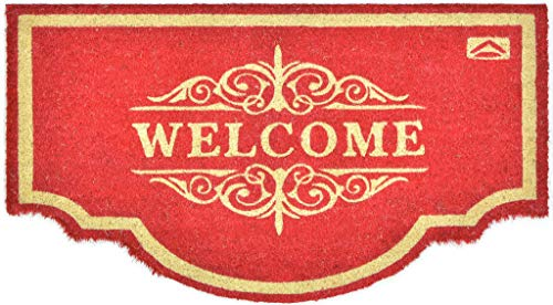 Casa Service - Felpudo de coco natural Welcome con forma de media luna, 50 x 90 cm, fondo de goma de PVC, color rojo, para entrada resistente, lavable, antideslizante de calidad