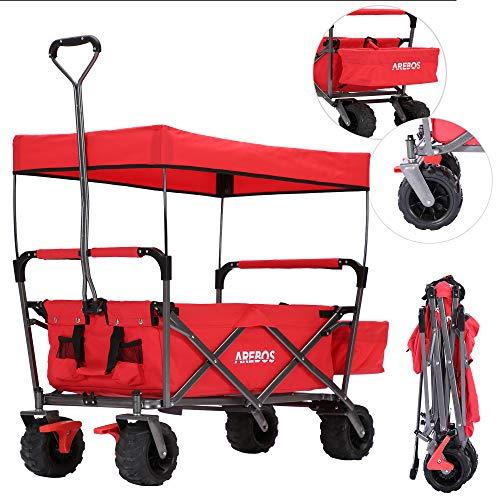 Arebos Bolderkar | opvouwbaar met dak | handwagen | inklapbaar | gereedschapswagen | rood
