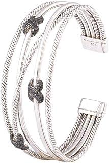 Aurex 0.68 Carat Natural Round Black Diamond 925 Silver Cuff Bracelet for Ladies/Women/Girls