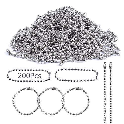 ボールチェーン【200Pcs】 コネクター付き 全長約12cm ボール径約1.4mm チェーンキーホルダービーズ素材 シルバー