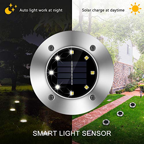 Solar Ground Lights, 8 LED Inground Solar Lights, Solar Powered Garden Lights for Outdoor Pathway Lawn Yard Patio Walkway Waterproof in-Ground Light- Bright White (8 Pack)
