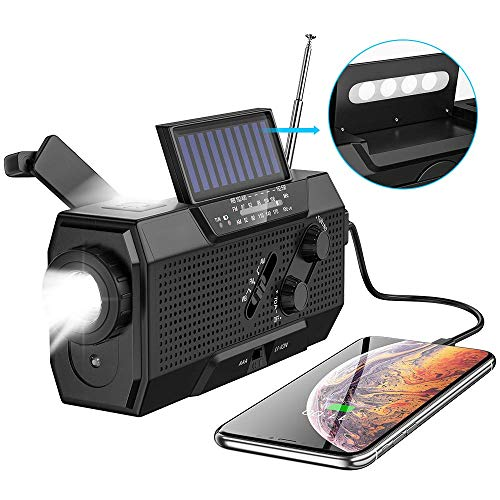 SEEKONE Emergency Solar Hand Crank Portable Radio, NOAA Weather Radio with AM/FM, SOS Alarm, Flashlight, Reading Lamp, USB Charger and 2000mAh Power Bank(Black)
