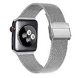 Meliya Cinturino Compatibile per Apple Watch Cinturino 44mm 42mm 40mm 38mm Series 6 5 4 3 2 1 SE, Cinturino in Metallo Maglia Milanese a Acciaio Inossidabile Cinturini (Argento, 42/44mm)