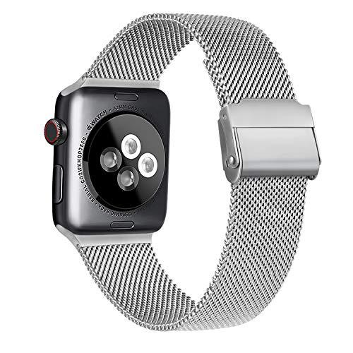 Meliya Cinturino Compatibile per Apple Watch Cinturino 44mm 42mm 40mm 38mm Series 6 5 4 3 2 1 SE, Cinturino in Metallo Maglia Milanese a Acciaio Inossidabile Cinturini (Argento, 38/40mm)