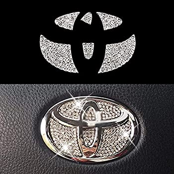 Bling Steering Wheel Logo Caps for Toyota,DIY Diamond Crystal Sparkly Steering Wheel Emblem Accessories Badge Interior Decorations Compatible for Women for Toyota MARKX,Camry,HIGHLANDER,COROLLA,rav4