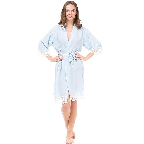 Mr   Mrs Right Women s Cotton Kimono Robe for Bride and Bridesmaid with Lace  Trim 6235851a5