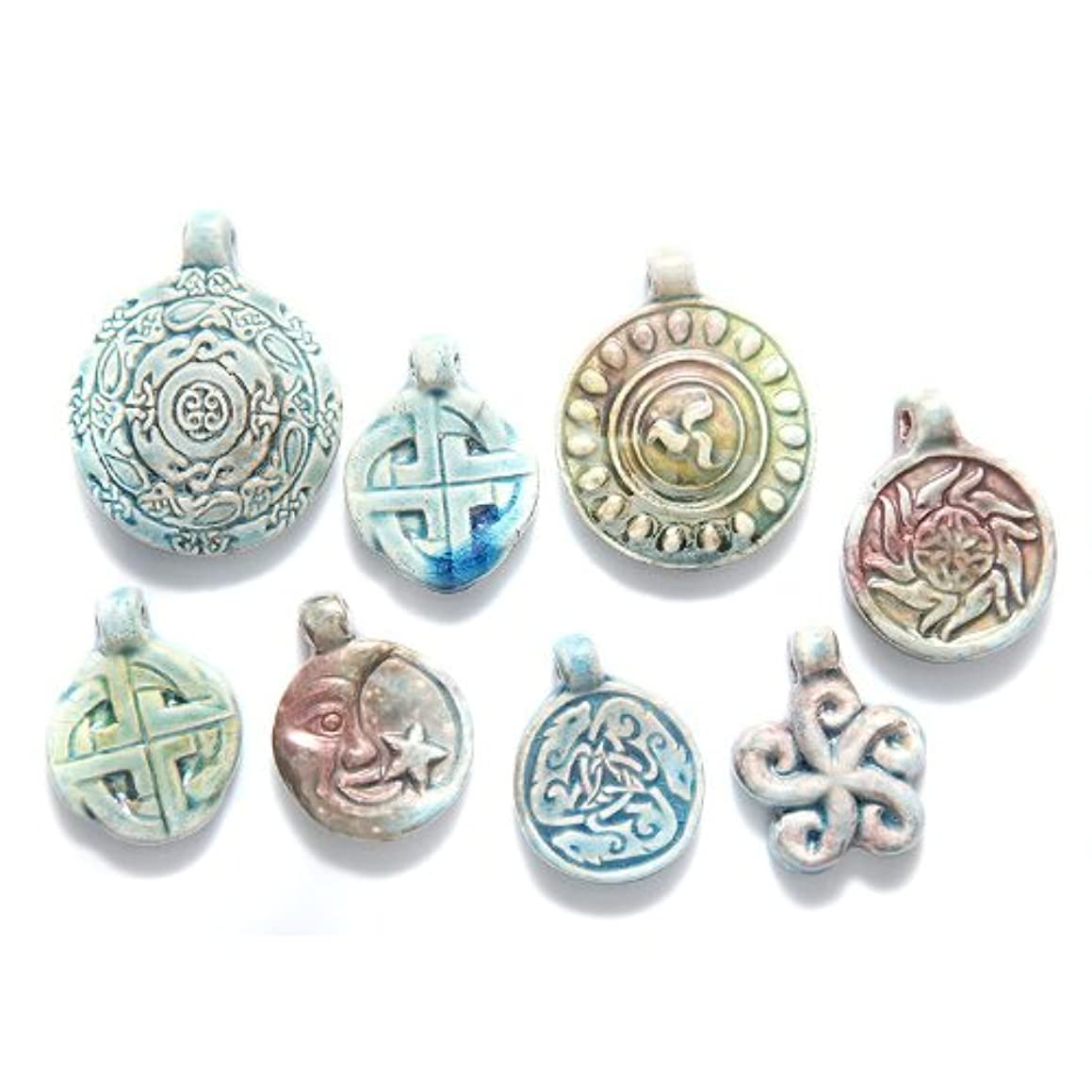 Shipwreck Beads Peruvian Hand Crafted Ceramic Raku Glazed Pendants, Assorted Color, 3 Per Pack