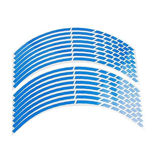 nJiaMe Fondo de llanta de Rueda de la Etiqueta engomada reflexiva Punto de interrupción de la Raya de la Bici Coche Azul 16 PC 17 a 18 Pulgadas