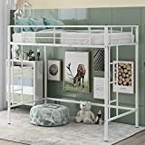 Twin Loft Beds with Built-in Ladders, Metal Loft Beds Twin Size, Full-Length Guardrail, No Box Spring Needed (White)