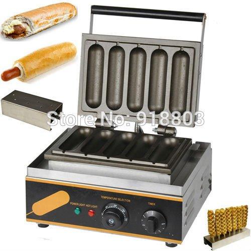 2 in 1 Commercial Use Nonstick 110v 220v Electric French Hotdog Waffle Maker Baker Machine & Stainless Steel Holder Stand