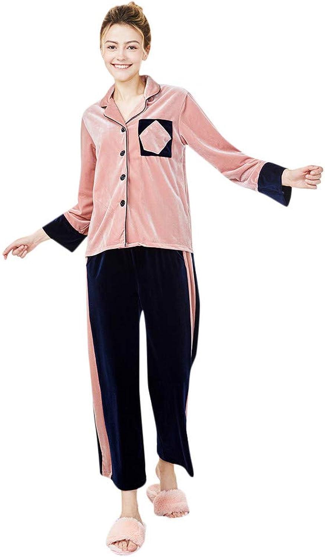 BOLUOYI Women Winter Sleepwear Long Sleeve Velvet Nightwear Satin Top Pants Sets