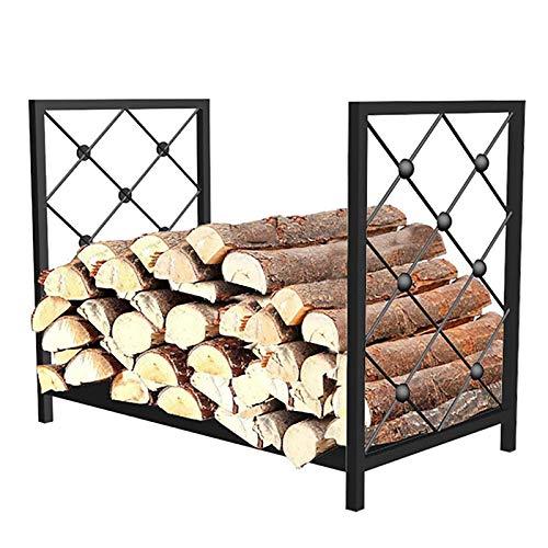 2ft Modern Log Wood Holder, Outdoor/Indoor Medium Firewood Rack Brackets, Heavy Duty Black Metal Kindling Logs Storage Stand, 60x35x48cm
