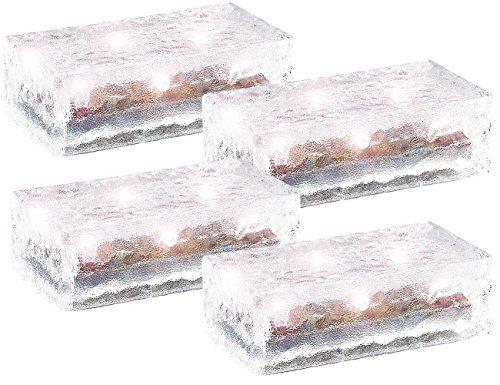 Lunartec LED Pflasterstein: 4er-Set Solar-Glasbausteine mit LED & Lichtsensor, 19,5 x 9,8 x 6 cm (Solar Pflastersteine befahrbar)