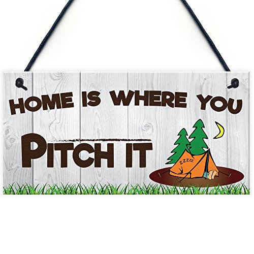 RED OCEAN HOME IS WHEREVER YOU PITCH IT CAMPING TENT CARAVAN MOTOR HOME GIFT