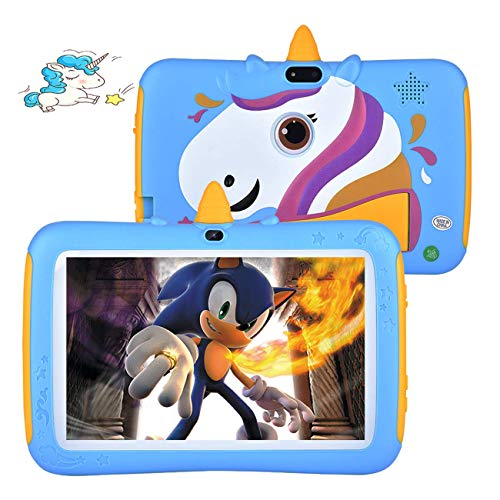 Kids Tablet, 7 inch Anti-Fall Tablets with Android 9.0, 2GB RAM, 16GB ROM, Parents Control & Kids Mode, Google Play Pre-Installed, IPS Eye Protection HD Display WiFi Tablet for Kids & Teens(Blue)